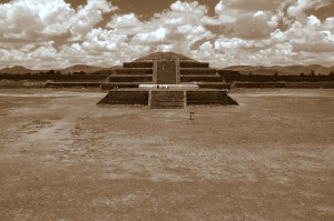 Teotihuacan 7 - La Ciudadela and Pyramid of the Plumed Serpent - Sepia tone