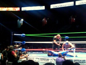 Lucha Libre 8 - The Shadow vs Spider-Man - from cell phone