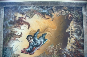 Castillo de Chapultepec 38 - Sacrifice of the Boy Heroes - ceiling fresco by Gabriel Flores Garcia