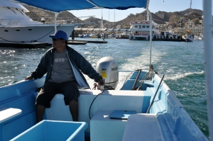 Land's End water taxi ride 1 - driver Pancho