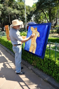 Sunday in San Angel 2 - painter Adalberto Reyes